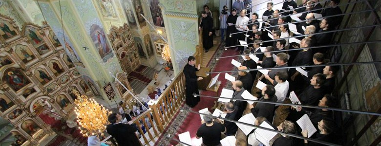 A bird's eye view of the choir at the Church of the Protection in Saratov